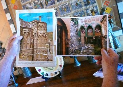 George shared with me his inspirations for many of his home's embellishments, here, the Cathedral at Monreale (Sicily) on the left, and his version in the courtyard, right.