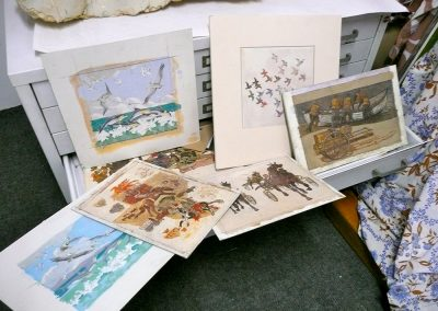 O'Connor's archive of Susan Hertel's original Gouache cartoons for the mosaic murals, now part of the Huntington Library collection