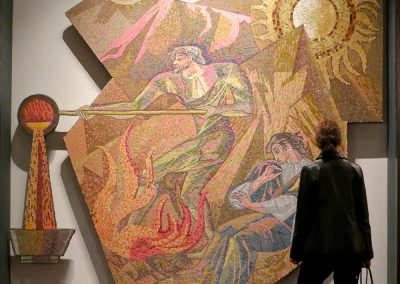 """Mosaic panel, """"Fire"""" from the Mercantile Bank, designed by Sheets have been re-sited at the Joule Hotel in Dallas."""