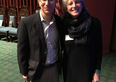 "Lillian with historian and author, Adam Arenson in San Francisco, they presented at ""Creative Collaboration – Honoring Millard Sheets: Master of Art & Design"" 2016"