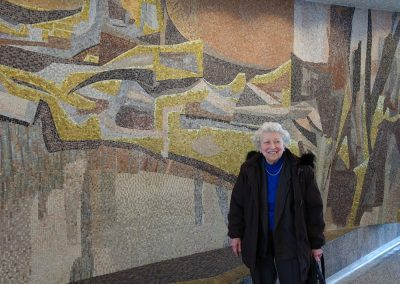 Marjorie Kreilick in front of FORWARD, 1963, lobby of Milwaukee State Office Building, April 2017, Photo: Lillian Sizemore